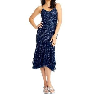 NWT Adrianna Papell Blue Beaded Dress